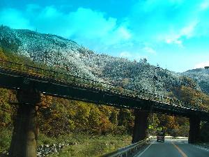 紅葉と雪景色高山